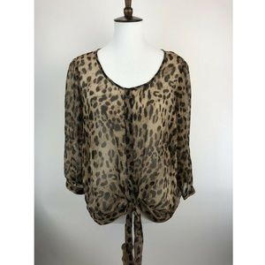 Forever 21 Plus Size XL Blouse Top Brown A18-04P